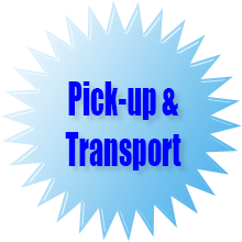 Pick-up and transport to the storage area